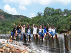 Team Building Photo on Waterfall
